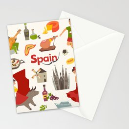 Spain traditional symbols set. Travel tourist element.Traditional spainish corrida, flamenco, guitar Stationery Cards