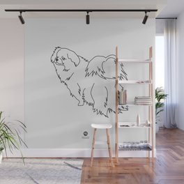 Beautiful Tibetan Spaniel Boy Minimalist Outline Artwork Wall Mural