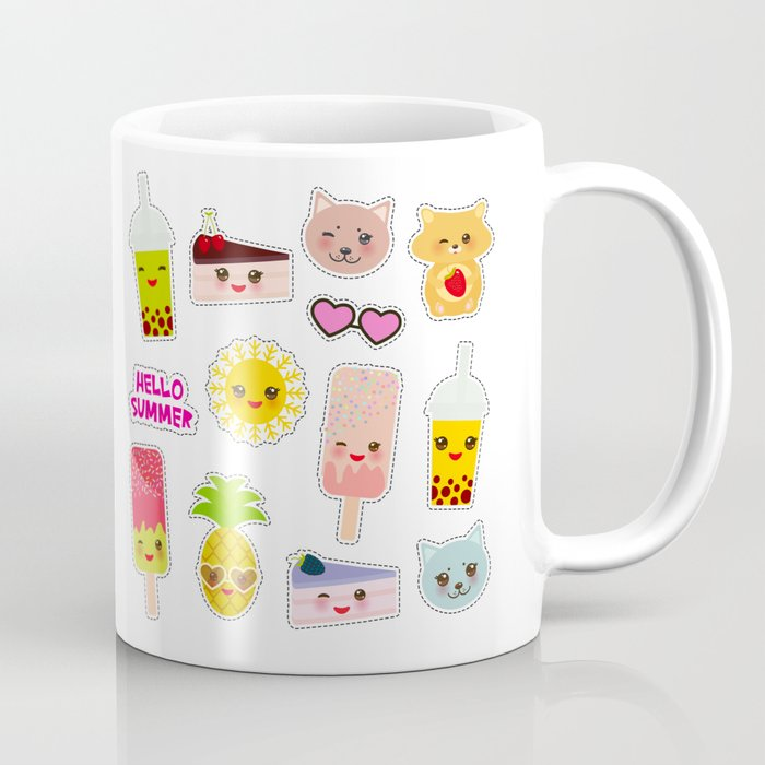 Hello Summer. Pineapple, cherry smoothie cup, ice cream, sun, cat, cake, hamster. Kawaii cute face. Coffee Mug