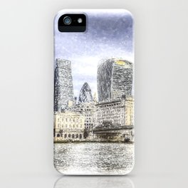City of London and River Thames Snow Art iPhone Case