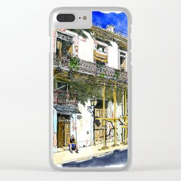 Man Sitting in Front of His House, Habana Vieja, Cuba Clear iPhone Case