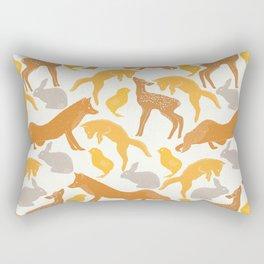 Pastel vintage orange brown spring cute animal pattern Rectangular Pillow