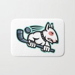Bull Terrier Ice Hockey Mascot Bath Mat