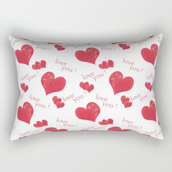 Abstract pattern with red hearts on a white background Rectangular Pillow