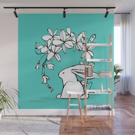 Happy Easter White Bunny and Flowers 2 on Teal Wall Mural