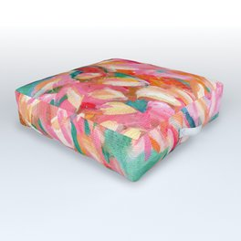 floral abstract in pink, turquoise, orange, and yellow ochre: summer arrives Outdoor Floor Cushion