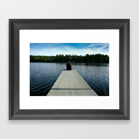 Dad sitting on the dock of the lake... Framed Art Print