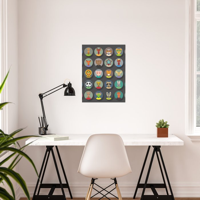 animals faces circle icons set in Trendy Flat Style. zoo Poster