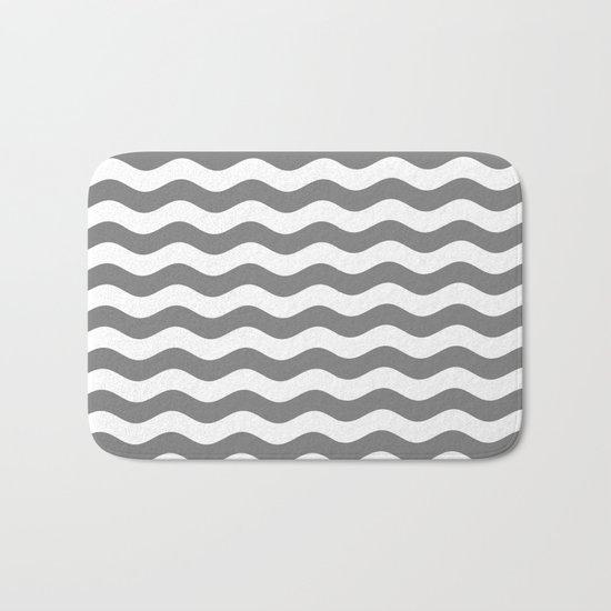 Wavy Stripes (Gray/White) Bath Mat