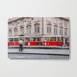 Man Waits for the Train Metal Print