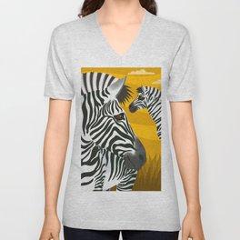 Zebras Unisex V-Neck