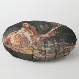 The Lady of Shallot - John William Waterhouse Floor Pillow