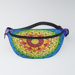 Rainbow Chakra Flower Mandala Colored Pencil Drawing by Imaginarium Creative Studios Fanny Pack