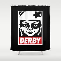 obey Shower Curtains featuring Obey Derby by Team Rapscallion