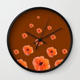 ORANGE POPPY FLOWERS ON COFFEE BROWN Wall Clock