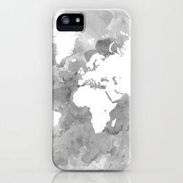 Design 49 Grayscale World Map iPhone Case