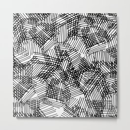 Modern black white pencil hand drawn geometric lines Metal Print
