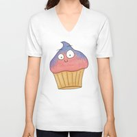 cupcake V-neck T-shirts featuring Cupcake by Ollie Bright Art