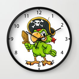 Pirate Parrot Wall Clock