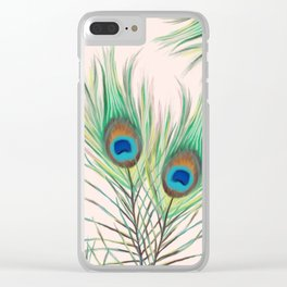 Unique Peacock Feathers Pattern Clear iPhone Case