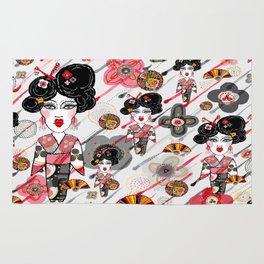 Geisha in the Rainy Garden Rug