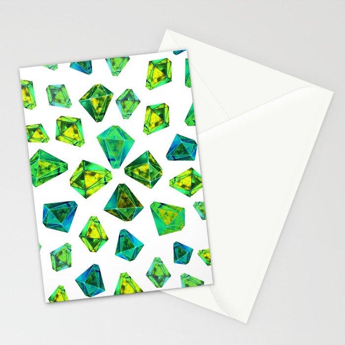 Green beautiful hand drawn gems. Stationery Cards