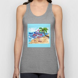 The Flamingo Family's Day at the Beach Unisex Tank Top