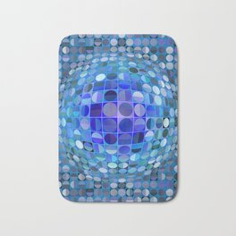 Optical Illusion Sphere - Blue Bath Mat