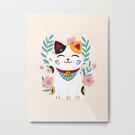 Japanese Lucky Cat with Cherry Blossoms Metal Print