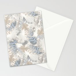 Owls, fashionable, modern, abstract, white, gray, blue, muted , pastel, beige, brown, Stationery Cards