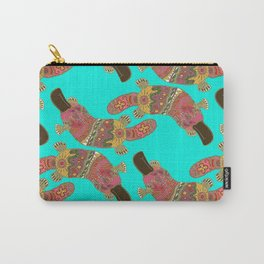duck-billed platypus turquoise Carry-All Pouch