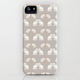 Arctic animals on pale grey iPhone Case