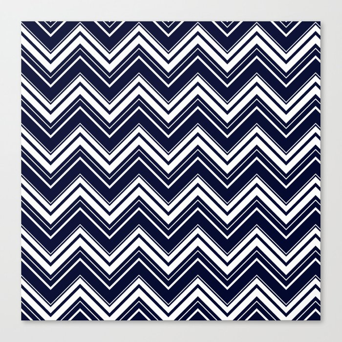 Maritime pattern- chevron - white and darkblue Canvas Print
