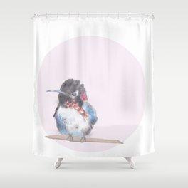 Hummingbird on pink background Shower Curtain