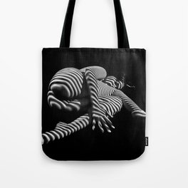7841-KMA BW Striped Fine Art Nude Woman Emerging From Fetal Position Tote Bag