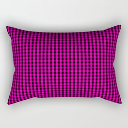 Small Hot Neon Pink and Black Gingham Check Rectangular Pillow