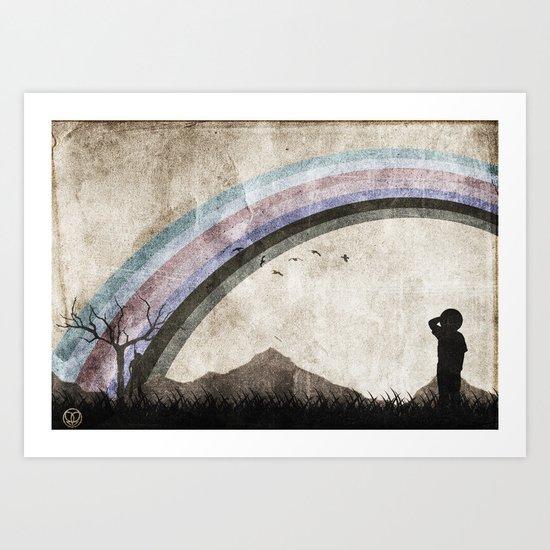 searching the black rainbow Art Print