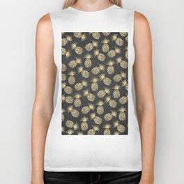 Modern chalk black elegant faux gold pineapple pattern Biker Tank