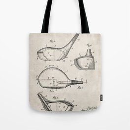 Golf Driver Patent - Golf Art - Antique Tote Bag