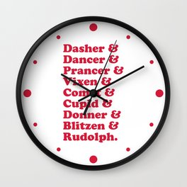 Reindeer Names Christmas Quote Wall Clock