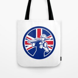 British Lumberyard Worker Union Jack Flag Icon Tote Bag