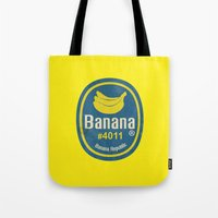 sticker Tote Bags featuring Banana Sticker On Yellow by Karolis Butenas