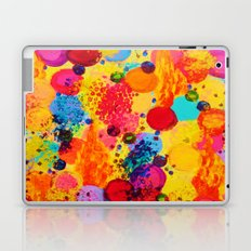 TIME FOR BUBBLY 2 - Fun Fiery Orange Red Whimsical Bubbles Bright Colorful Abstract Acrylic Painting Laptop & iPad Skin