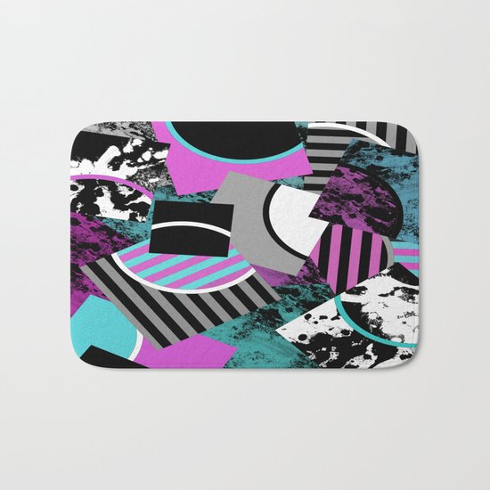 Cluttered Sqaures - Abstract, geometric, stripes, pink, cyan, blue, textured, black, white, arcs Bath Mat