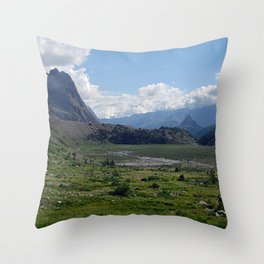 Alpine Valley Meadow Alps Mountains Landscape Throw Pillow