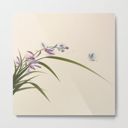 oriental style painting, flowers and butterfly Metal Print