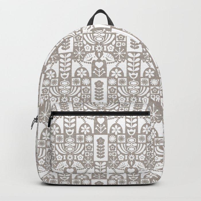 Swedish Folk Art - Warm Gray Backpack