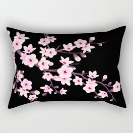Cherry Blossoms Pink Black Rectangular Pillow