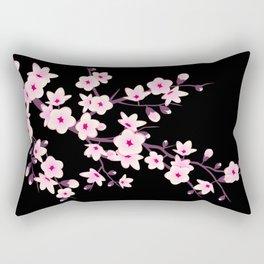 Cherry Blossoms Pink Black Rectangular Pillow