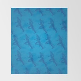 Watercolor running man silhouette background in blue color pattern Throw Blanket